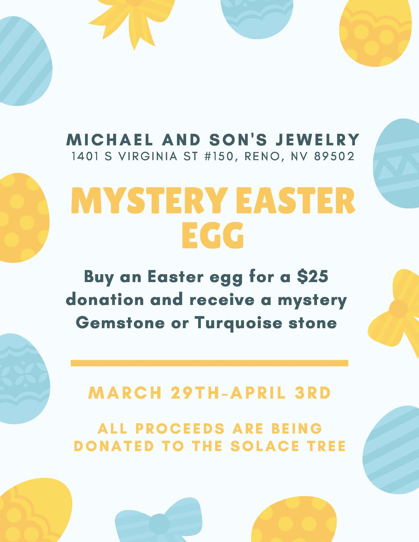 2021 Easter Egg Event at Michael & Sons Jewelers to Benefit The Solace Tree.