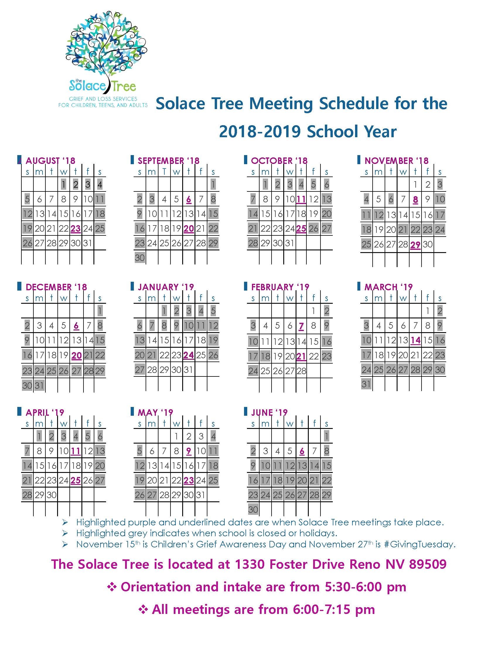 Solace Tree Meeting Schedule for 2018
