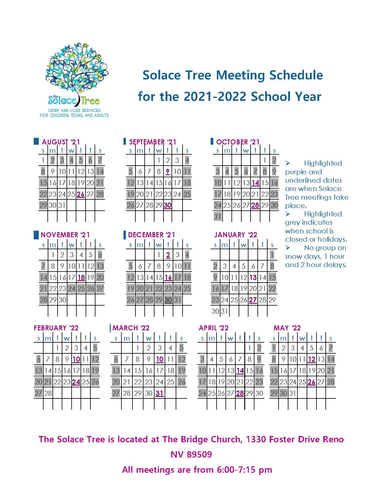 Solace Tree Meeting Schedule for 2021-2022