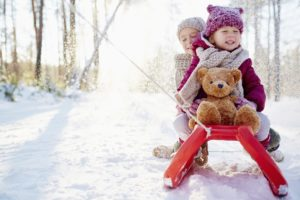 Kids are enjoying sled ride in snow forest